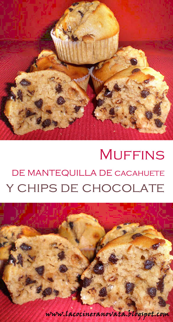 MUFFINS DE MANTEQUILLA DE CACAHUETE Y CHIPS DE CHOCOLATE la cocinera novata dulce reposteria receta cocina