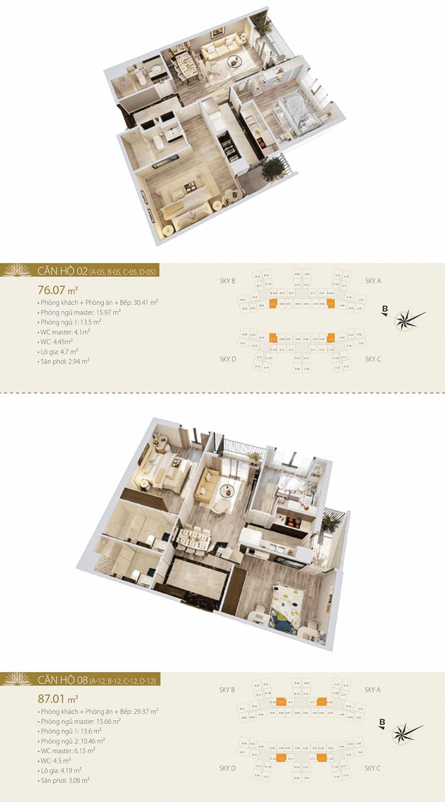 Mặt bằng chi tiết căn hộ 02 và 08 dự án Imperia Sky Garden
