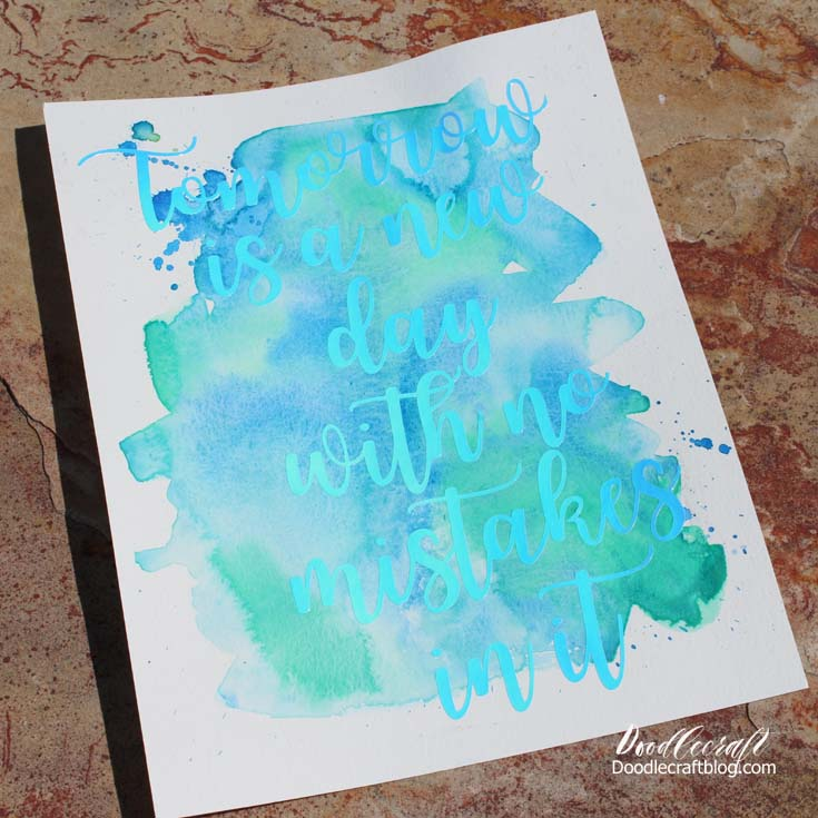 Doodlecraft Watercolor Vinyl Calligraphy Cricut Explore Air 2