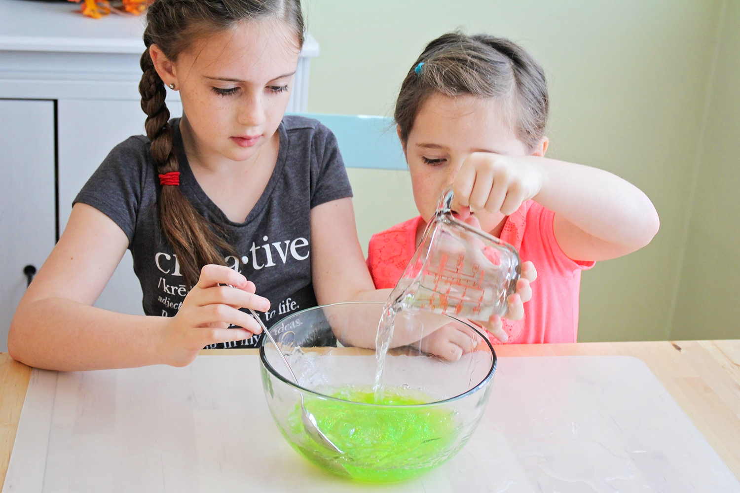 This three ingredient Halloween slime is so quick and easy to make. It's the perfect Halloween activity to do with the kids!