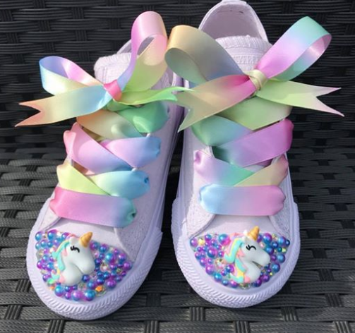 33e262fb332d These unicorn Converse trainers are so pretty with their Lisa s Bling of  Swarovski crystal and multicolour ribbons.
