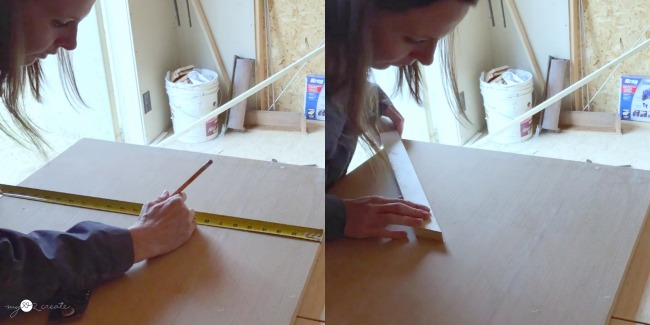 marking center on plywood to create a wooden art design