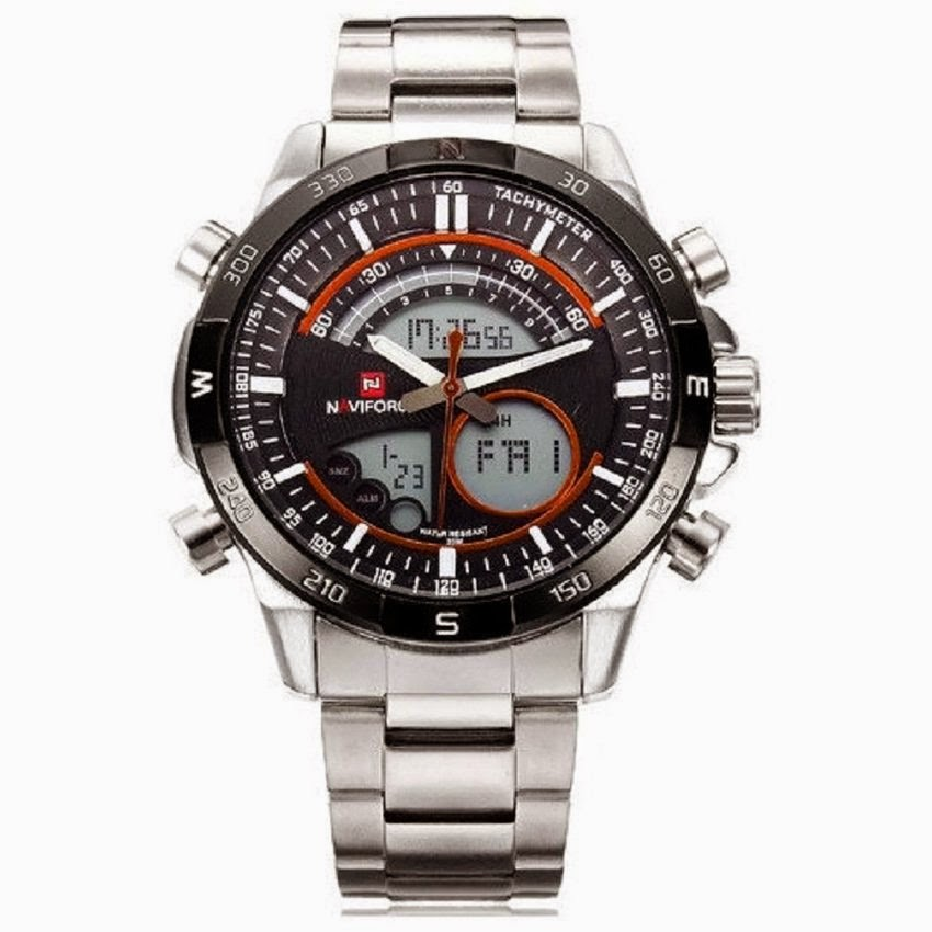 Jam Tangan ORI Naviforce 9031 - Jam Tangan Pria - Silver Merah - Stainless  Steel 2983598eea