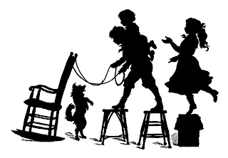 silhouette vintage children playing