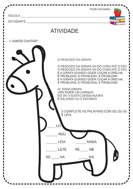 Atividade Sílabas Complexas GE e GI Dona Girafa