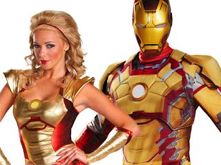 Modelo guapa y Iron man