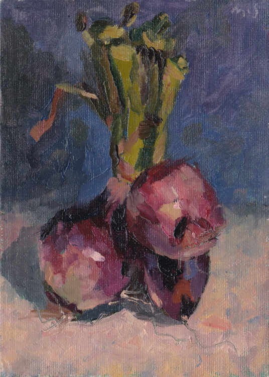 """Irene's Echalottes. Tuesday's alla prima Daily Painting in oils on canvas panel. 5"""" x 7"""""""