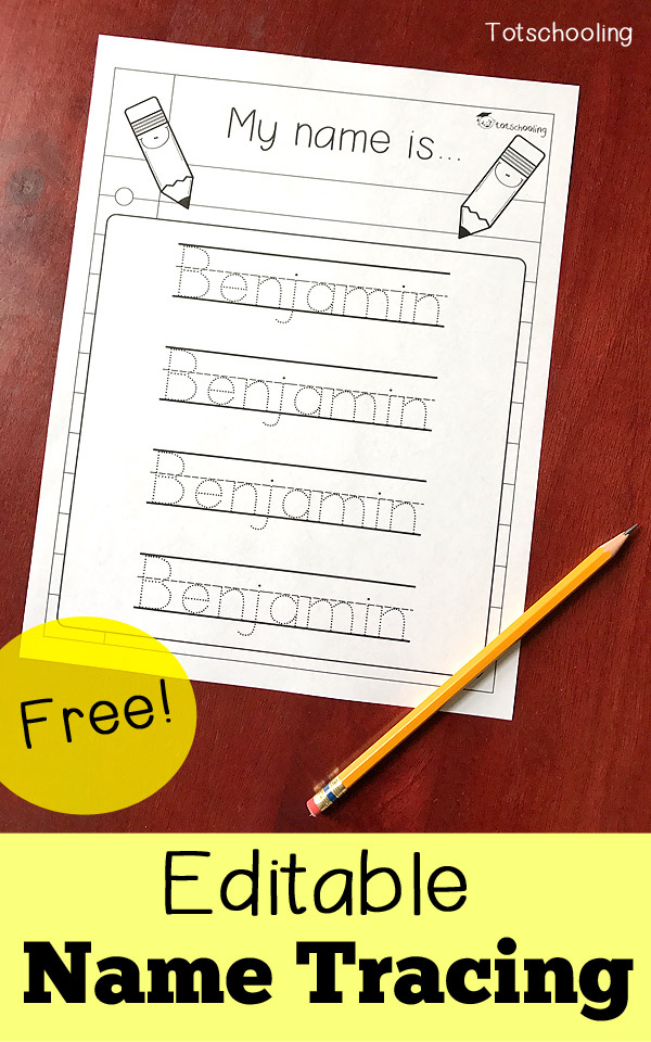Editable Name Tracing Sheet Totschooling - Toddler, Preschool,  Kindergarten Educational Printables