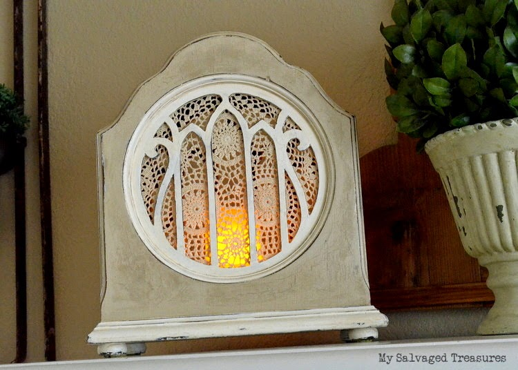 Repurposed vintage radio speaker night light