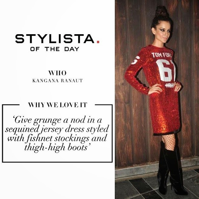 new on the blog - stylista of the day @kanganaranaut looked as fierce as ever in a sequinned tom ford jersey dress at a recent bash!, Kangana Ranaut Latest Style File