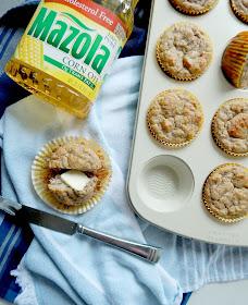 Almond Flour Banana Muffins...a few swaps {corn oil, Greek yogurt, cinnamon applesauce, almond flour} make this healthier muffin an easy grab-n-go option on busy weekday mornings! #ad #MakeItMazola #simpleswap #CollectiveBias (sweetandsavoryfood.com)