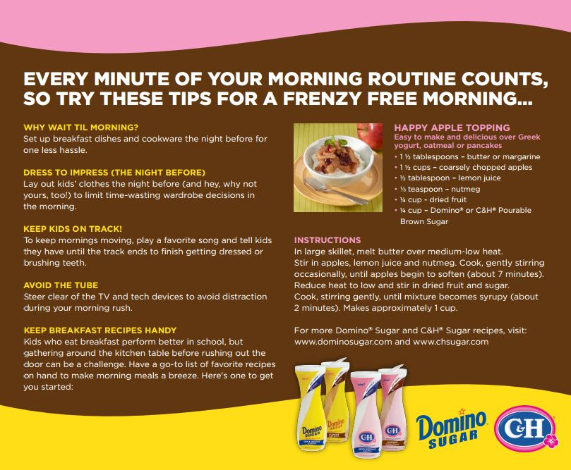 Domino+Sugar+Infographic 5 Ways to Simplify Your Mornings with Children + Giveaway #FlipTopFrenzyFree 8