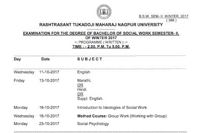 RTMNU Time Table BSW SEM II Exam Winter 2017