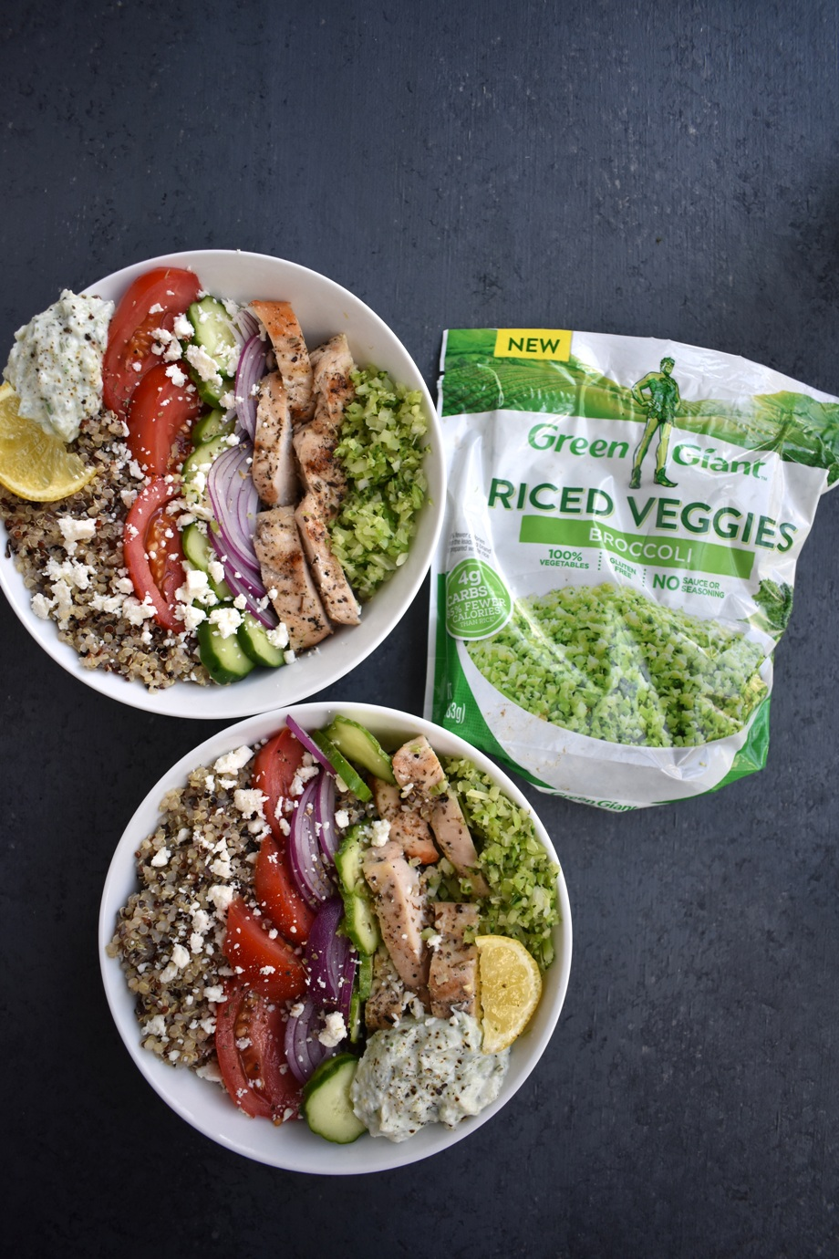 Greek Chicken Meal Prep Bowls are loaded with lemon herb chicken, tzatziki sauce, cucumbers, tomatoes, red onion, feta and broccoli for the perfect lunch that can be made ahead of time! www.nutritionistreviews.com