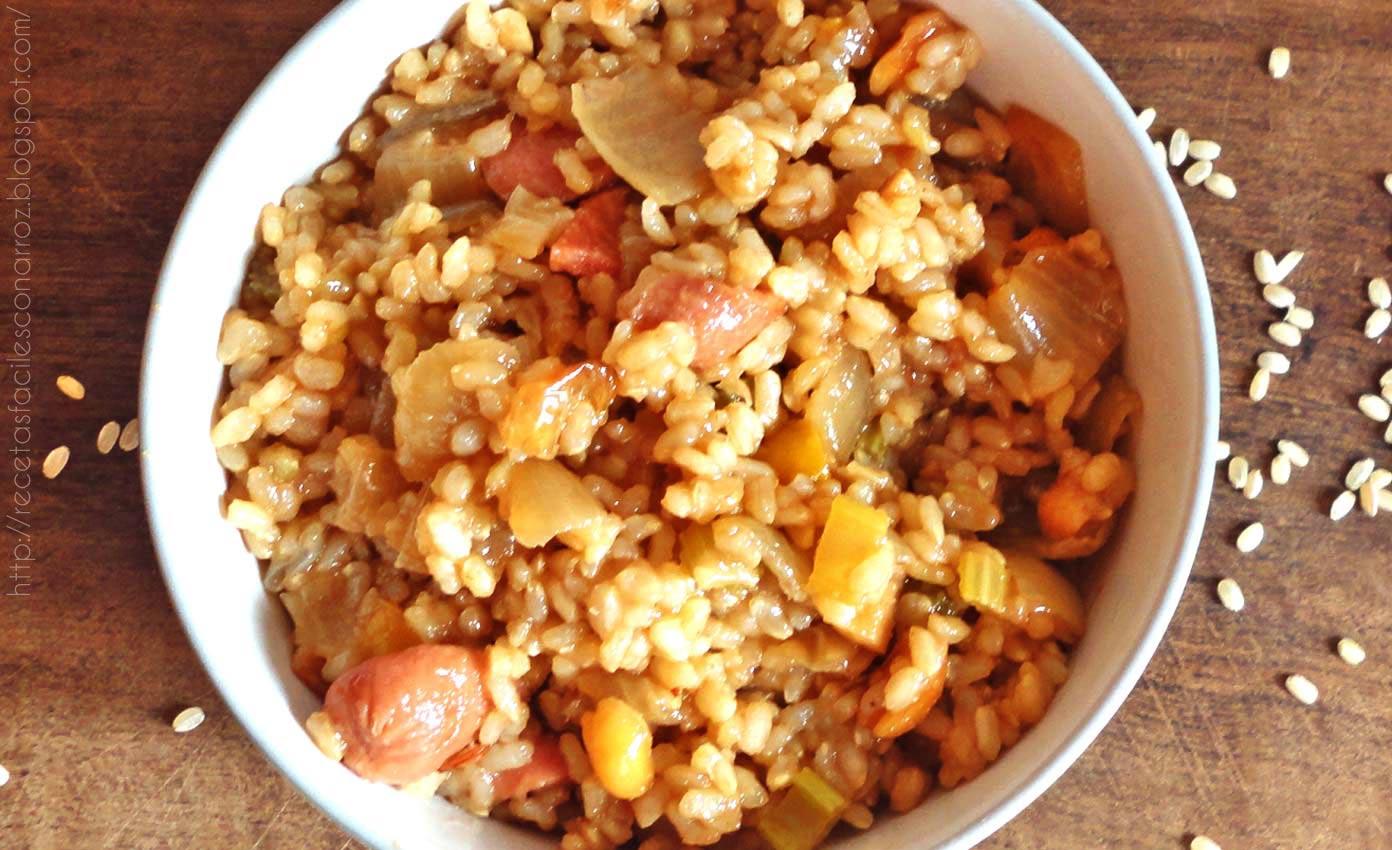 como hacer arroz chino con salchichas