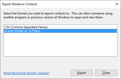 Export contacts as VCF