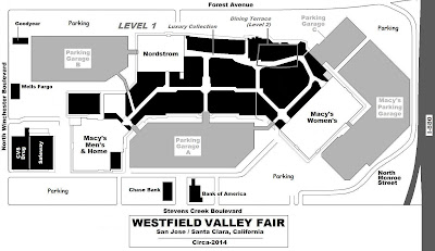 Westfield Mall San Jose Map Mall Hours: Map Of Westfield Valley Fair San Jose