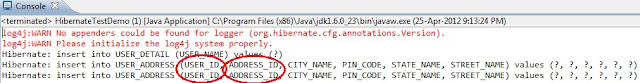 Collections in Hibernate example output
