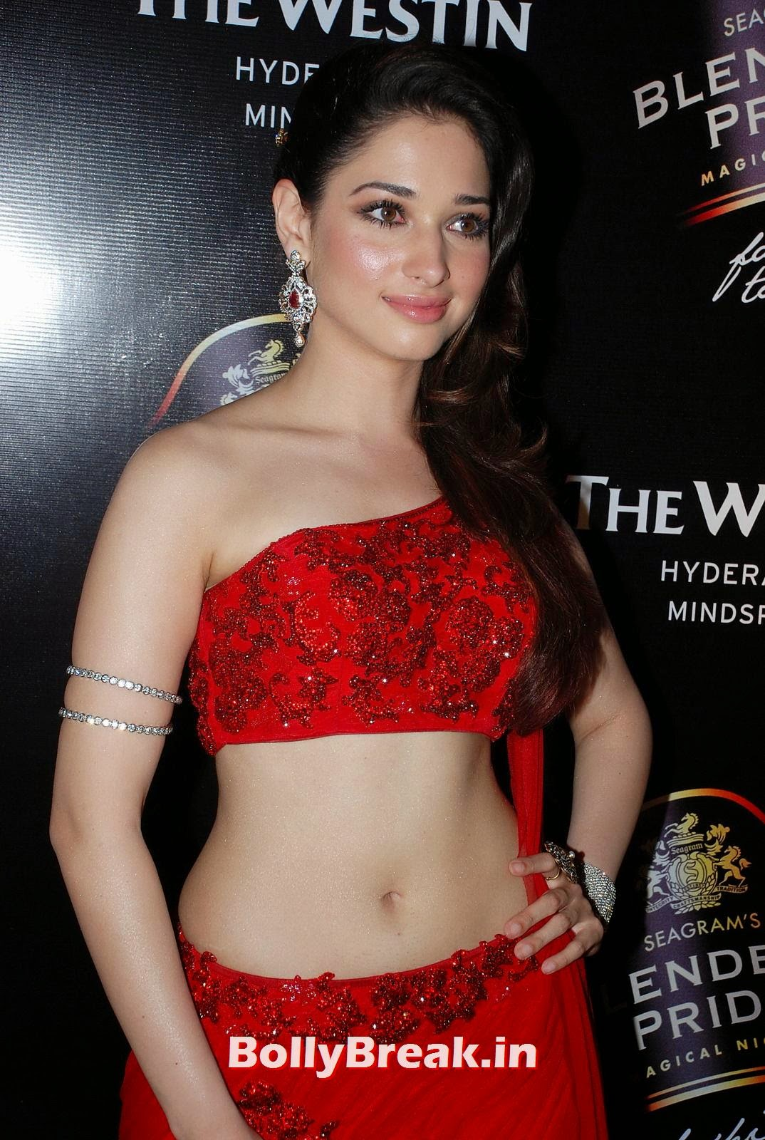 ,  Tamanna Bhatia White Skin UHD Images in Red Dress