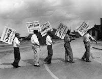Workers from various unions in 1935 protesting the Waterman Steamship Corporation's repair division in Maryland. Credit Harold M. Lambert/Getty Images