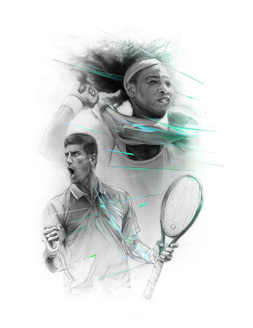 12-Serena-Williams-and-Novak-Djokovic-Alexis-Marcou-Traditional-and-Digital-Celebrity-Drawings-www-designstack-co