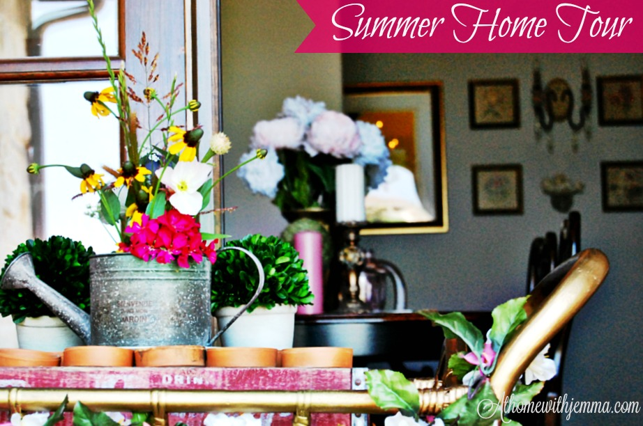 Summer, decorating, summer vignette, gold tea cart, boxwood, candles