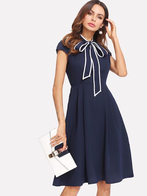 b1ef142722 Contrast Binding Tie Neck Fit & Flare Dress