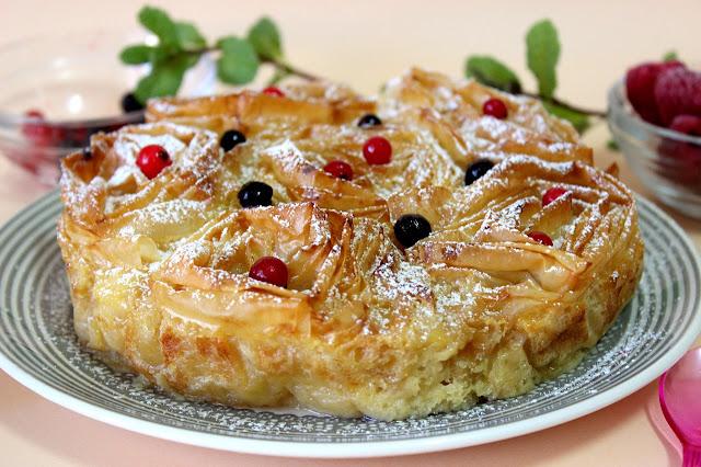 Ruffled milk pie. Pastel crujiente de natillas. Julia y sus recetas