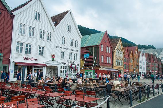 Bryggen en Bergen. Hurtigruten dia 1: Bergen