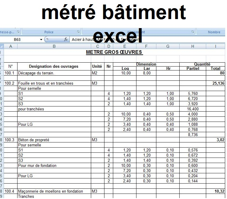 m tr b timent excel 2 exemples de fichiers cours g nie civil outils livres exercices et. Black Bedroom Furniture Sets. Home Design Ideas