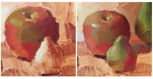 alla prima oil painting work in progress apples and pears