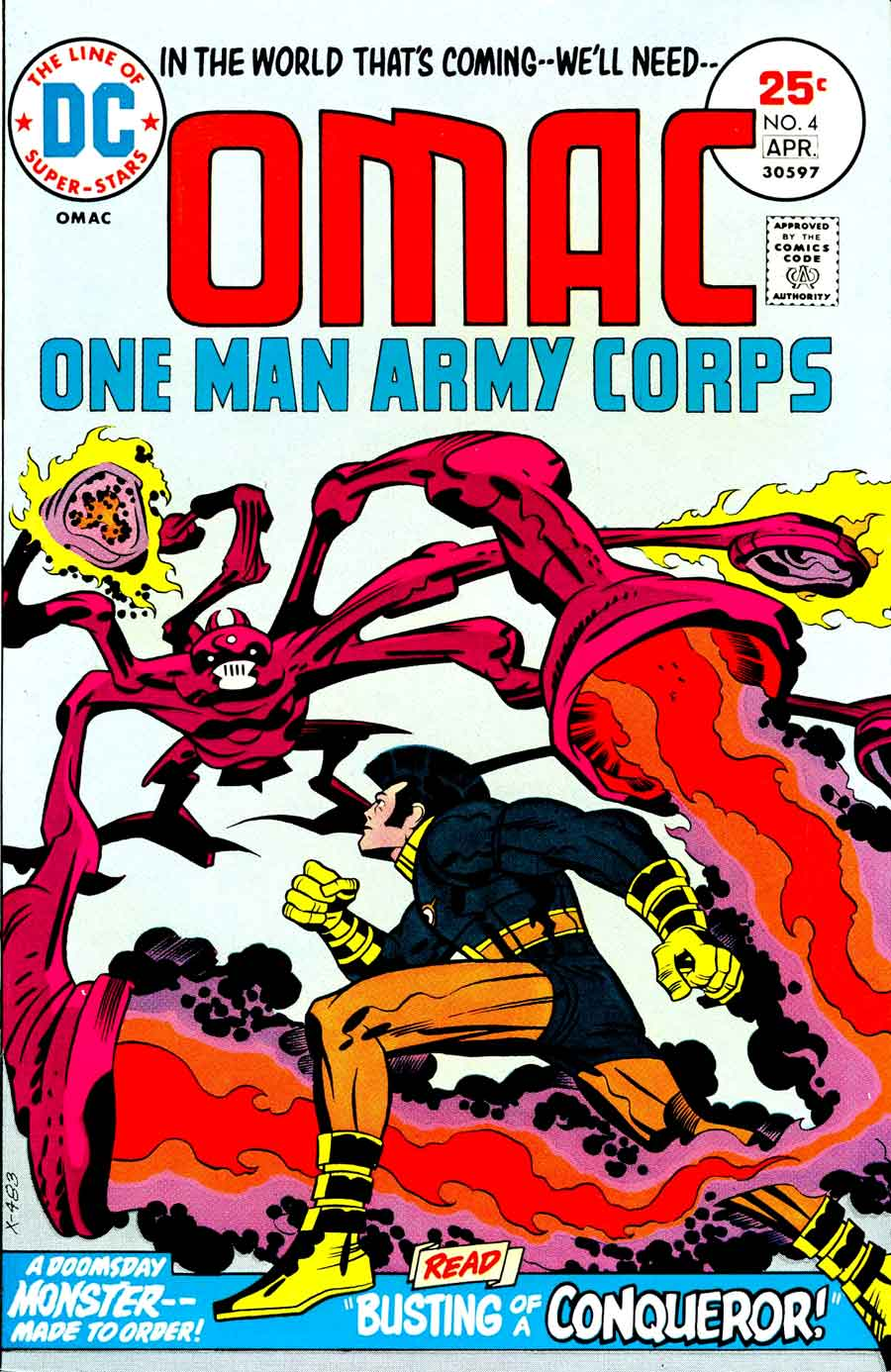 Omac v1 #4 dc bronze age comic book cover art by Jack Kirby