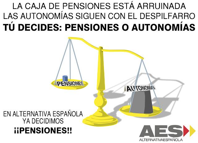 Imagen: Una blanaza con las pensiones en una plato y las autonomías en otro, mostrando un desequilibrio a favor de las segundas