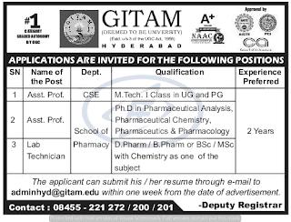 Assistant professors Jobs in GITAM University 2019 Recruitment, Hyderabad