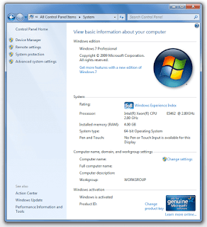windows 7 system control panel