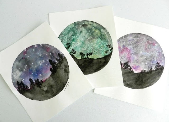 Watercolor Starry Night Skies
