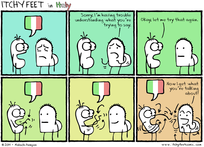 if you speak italian you must use your hands