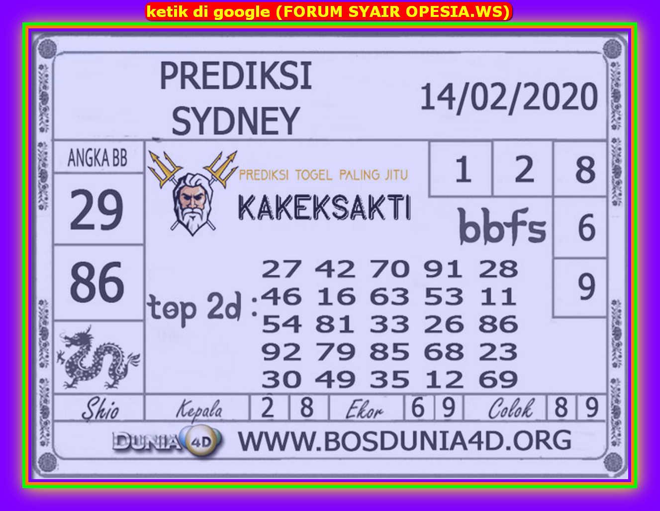 Kode syair Sydney Jumat 14 Februari 2020 75