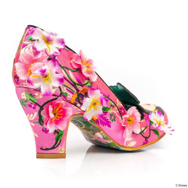 back angle of pink floral shoe with flowers on it and mid heel