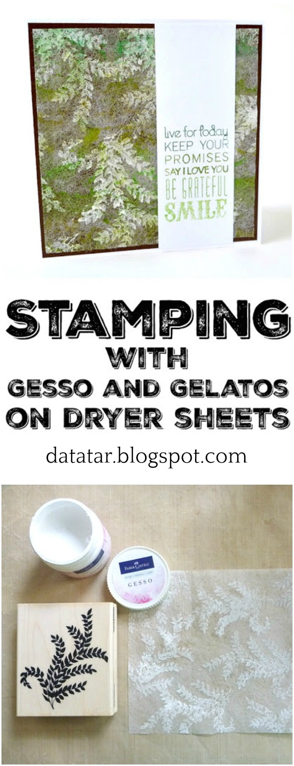 Gesso Stamped Dryer Sheet Tutorial by Dana Tatar
