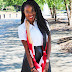 RED AND BLACK COLORBLOCK SCARF AND LEATHER SKATER SKIRT
