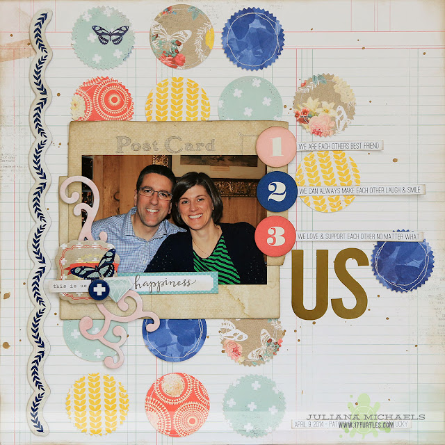 Us Scrapbook Page by Juliana Michaels featuring BoBunny Sweet Life Collection and MFT Stamps Dies