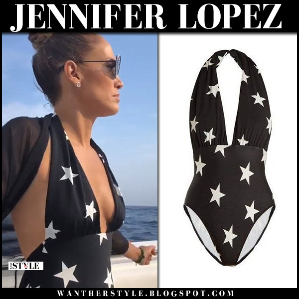 Jennifer Lopez in black star print halterneck swimsuit norma kamali hollywood summer style