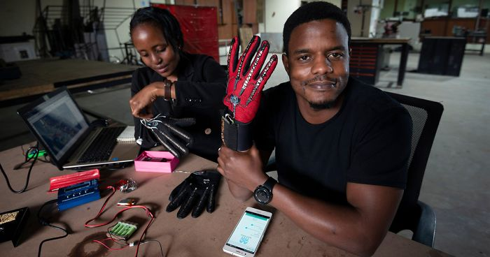 25-Year-Old From Kenya Invented Smart Gloves That Convert Sign Language Into Audio Speech