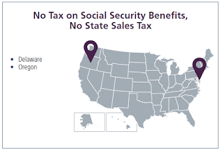 map showing Delaware and Oregon - No Tax on Social Security or State Sales Tax