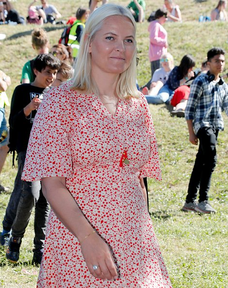 Crown Princess Mette-Marit wore a new cotton kitchen dress from ByTiMo. Crown Princess Mette-Marit is wearing a By Ti Mo dress