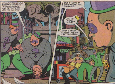So. Much. Fun. And something we've seen the Riddler do in comics, too.