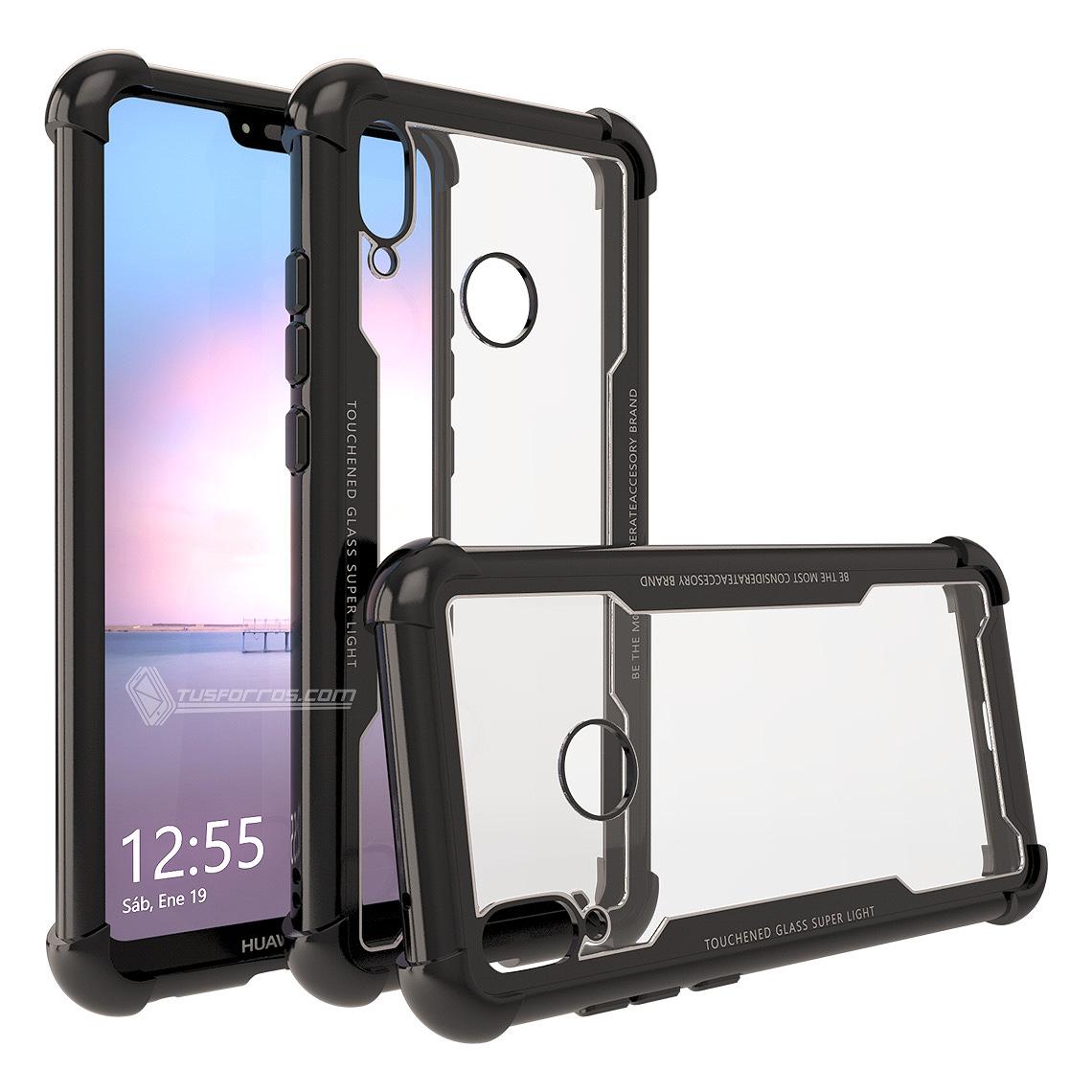 Huawei P20 Lite Forro Anti-Shock Edge Black BackCover Cristal Clear