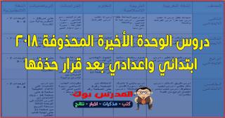 المحذوف من المناهج الدراسية بعد قرار حذف الوحدة الأخيرة ابتدائي واعدادي عربي ودراسات وعلوم ورياضة