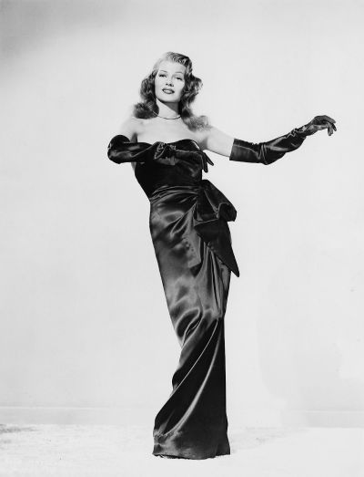 Rita Hayworth posed in iconic black satin dress in her portrayal as Gilda